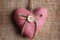 Картинка сердце, ткань, пуговица, подушечка