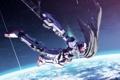 Картинка космос, земля, планета, робот, аниме, арт, меха