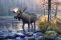 Картинка природа, картина, автор, холст, лось, александр