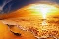 Картинка закат, небо, песок, море, яркость, люди, прибой