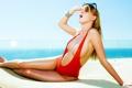 Картинка девушка, ножки, купальник, солнце