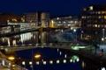 Картинка ночь, город, река, фото, дома, Нидерланды, мосты