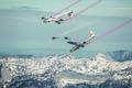 Картинка Red Bull, контейнер, парашют, самолеты, экстремальный спорт, зима, дымные