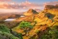 Картинка дорога, небо, облака, горы, дерево, озера, Шотландия