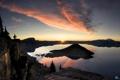 Картинка природа, озеро, рассвет, остров, кратер, Oregon, national park