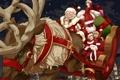 Картинка снег, полет, радость, ночь, дети, город, огни