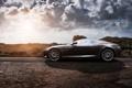 Картинка дорога, закат, Aston Martin, Вираж, профиль, grey, Астон Мартин