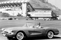 Картинка ретро, Corvette, аэродром, чёрнобелое, женьшина за рулём, 1959–60