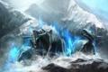 Картинка лед, снег, скалы, магия, арт, монстры, рога
