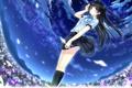 Картинка звезды, небо, поле, девушка, лепестки, kazuharu kina, форма