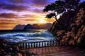 Картинка море, закат, живопись, Anthony Casay