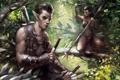 Картинка лес, девушка, арт, эльфы, парень, татуировки