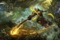 Картинка фантастика, тьма, магия, бой, воин, Wu Kong