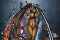 Картинка лук, монстр, медуза горгона, арт, девушка, змеи, обнажена