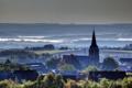 Картинка дома, горизонт, Германия, туман, городок, Ландкерн