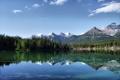 Картинка лес, пейзаж, горы, озеро, отражение, Природа, reflection