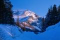 Картинка зима, лес, снег, горы, природа, фото