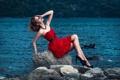 Картинка девушка, поза, озеро