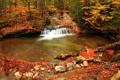 Картинка осень, лес, деревья, ручей, камни, водопад