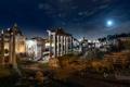Картинка Рим, ночь, огни, руины, развалины, форум, Италия