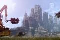 Картинка небо, трава, деревья, город, будущее, корабли, техника