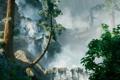 Картинка лес, деревья, горы, природа, замок, водопад, арт