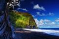 Картинка песок, море, небо, облака, дерево, гора, гаваи
