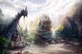 Картинка дом, река, скалы, корабль, арт, паруса, островок