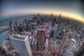 Картинка закат, здания, Чикаго, Chicago, небоскрёбы