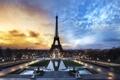 Картинка Париж, Paris, sunset, France, Елисейские поля, Eiffel Tower