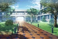 Картинка деревья, парк, здание, аниме, арт, дорожка, скамейки