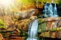 Картинка лес, осень, скалы, поток, листья, деревья, водопад