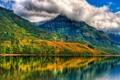 Картинка небо, облака, отражения, деревья, горы, озеро, Дом