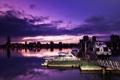 Картинка ночь, город, река, вечер, причал, катера