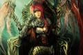 Картинка девушка, крылья, арт, трон, сидя