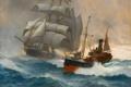 Картинка море, волны, корабль, парусник, Montague Dawson, Boat, Clipper