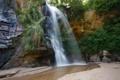 Картинка песок, трава, деревья, скалы, водопад