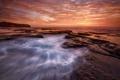 Картинка море, волны, небо, скалы, выдержка