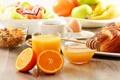 Картинка яблоки, еда, апельсины, завтрак, сок, мед, ложка