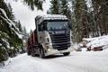 Картинка Снег, Лес, Грузовик, Scania, Лесовоз, R730