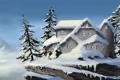 Картинка снег, деревья, горы, дом, скалы, ель, домик