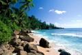 Картинка песок, камни, заросли, облака, пальмы, море