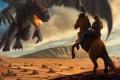 Картинка dragon, horse, cowboy