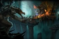 Картинка драконы, битва, подземелье, путники, Drakensang Online