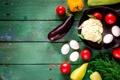 Картинка лето, доски, яйца, укроп, баклажан, перец, овощи