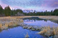 Картинка небо, облака, деревья, горы, река, ель, сша
