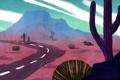 Картинка дорога, пустыня, арт, кактусы, нарисованный пейзаж