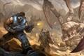 Картинка оружие, монстр, арт, солдаты, битва, Gears of War 3