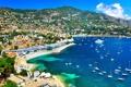 Картинка море, пейзаж, горы, побережье, Франция, дома, яхты