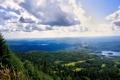 Картинка небо, облака, озера, леса, селение, необозримые